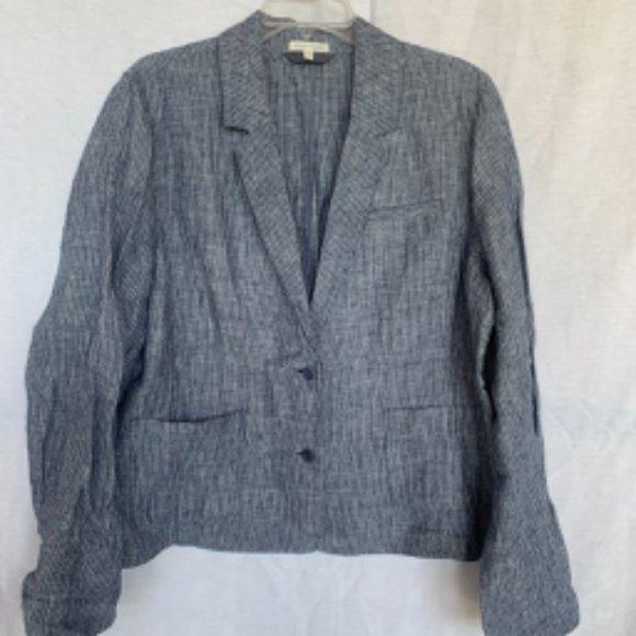 Eileen Fisher Jackets & Blazers - Eileen Fisher Blue Striped Linen Blazer
